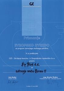 Picture of 1. nagrada Europska zvijezda 2006. i 2005. za protupožarna vratna krila s intarzijom