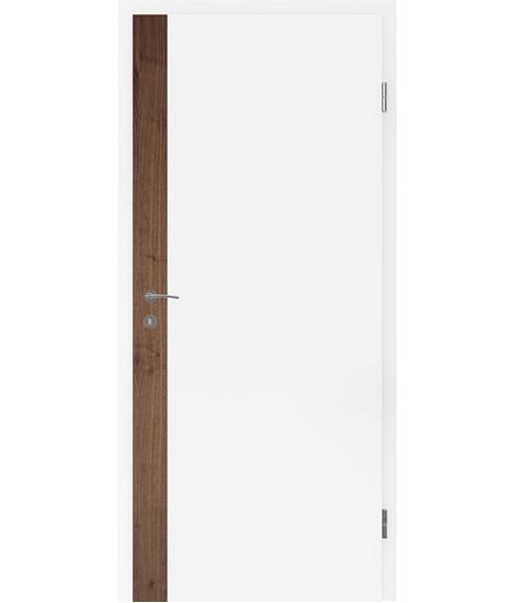 Bijelo obojena unutrašnja vrata s uspravnim furniranim umetcima i utorom BELLAline - F5R33L bijelo obojeno, umetak orah