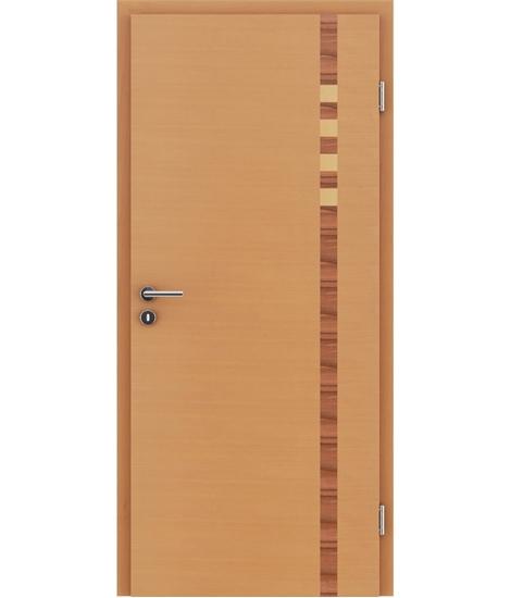 Furnirana unutrašnja vrata s intarzijskim umetcima HIGHline - I17 bukva, intarzijski umetak od indijske jabuke i javora