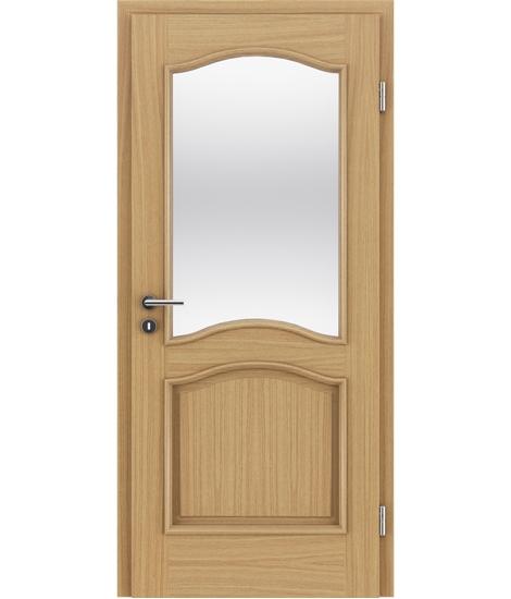Furnirana unutrašnja vrata s ukrasnim letvicama in steklom - NAPOLEON STILline - SNC SN3 hrast europski