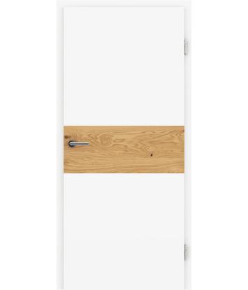 Bijelo obojena unutrašnja vrata s furniranim umetcima i utorima BELLAline - I39R72L bijelo obojeno, umetak hrast grča