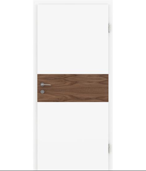 Bijelo obojena unutrašnja vrata s furniranim umetcima i utorima BELLAline - I39R72L bijelo obojeno, umetak orah