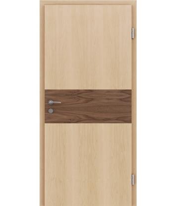 Furnirana unutrašnja vrata s intarzijskim umetcima HIGHline - I39 javor, umetak orah
